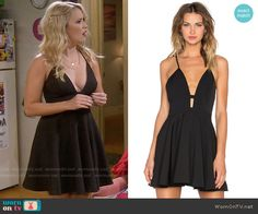 Gabi's black plunge neck dress on Young and Hungry.  Outfit Details: https://wornontv.net/58776/ #YoungandHungry