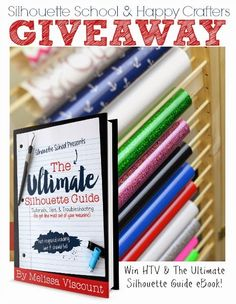 Silhouette School and Happy Crafters silhouette guidebook and heat transfer vinyl giveaway. Silhouette School Blog, Love Silhouette, Silhouette Design, Silhouette Cameo Tutorials, Silhouette Projects, Vinyl Crafts, Vinyl Projects, Shilouette Cameo, Happy Crafters
