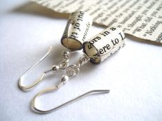 Bookworm Earrings, Beaded Jewelry from Recycled Books, Literature Arts from The Unwritten Word. $18.00, via Etsy.