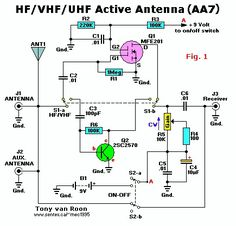 Antenna Booster, Active antenna to pull in those hard to get signals, MHz. Radio Shop, Radio Kit, Electronic Circuit Design, Electronic Engineering, Electrical Engineering, Electronics Basics, Electronics Projects, Electronics Components, Radio Amateur
