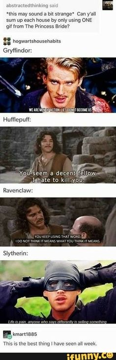 (Princess Bride lines for Hogwarts houses) Love the Slytherin Harry Potter Jokes, Harry Potter Fandom, Slytherin, Hufflepuff Funny, Casas Estilo Harry Potter, Geeks, The Princess Bride, Disney Princess, Films Cinema