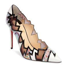 Women's Christian Louboutin Explotek Razor Edge Pump (€1.115) ❤ liked on Polyvore featuring shoes, pumps, lavander multi, christian louboutin shoes, geometric shoes, pointy toe shoes, pointed toe shoes and pointy toe pumps