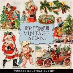 Vintage Xmas Illustrations Kit:Far Far Hill - Free database of digital illustrations and papers