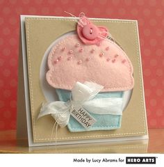 Hero Arts Cardmaking Idea: Felt Cupcake Card