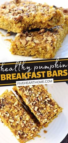 You will love these Healthy Pumpkin Breakfast Bars! No fancy mixer is needed for this simple recipe. Not only do these soft-baked, chewy treats taste like fall, but they are also loaded with wholesome ingredients! Perfect for a satisfying grab-n-go breakfast or snack! Easy To Make Breakfast, Pumpkin Breakfast, Breakfast Bars, Breakfast For Kids, Delicious Breakfast Recipes, Easy Delicious Recipes, Brunch Recipes, Dessert Recipes, Yummy Food