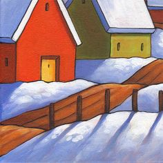 Original painting of a full moon winter night roadway with colorful cottages and a snowy landscape featuring vibrant colors and a folk art style that is unique to this original artwork piece. ____________________________________________________________  TITLE: Winter Road Cottage Night  SIZE: 12 x 16  MEDIUM: Acrylic paint on stretched canvas  STYLE: Abstract Folk Impressionism  SUBJECT: Landscape  DETAILS: Painting has staple-free sides, the sides have been painted so that the front image…