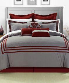 Look at this #zulilyfind! Red Cosmo Comforter Set #zulilyfinds  Very modern. Maybe not my single gal taste.