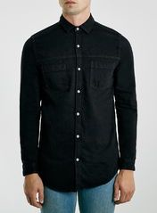 Black Denim Long Line Long Sleeve Casual Shirt