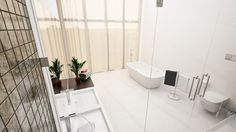 Sussex views. Openplan Bedroom Bathroom. Architectural Visualisation. - Moko 3D - Brighton