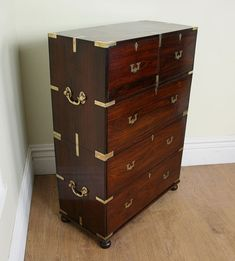 Antique Colonial Military Campaign Rosewood Chest of Drawers Cupboard (c.1860)