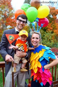 Disney Pixar UP Halloween costume! Carl, Russell, & Kevin. #homemade #UP - @marlenadocter