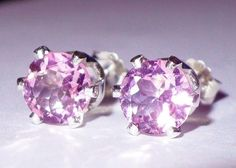 NEW Silver EARRINGS 6mm Brilliant Round Faceted 1ct each VVS+ Bright PINK TOPAZ #Handmade #Stud