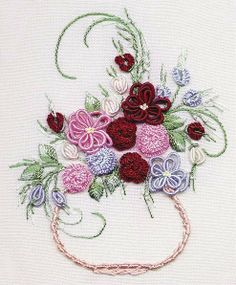 Wonderful Ribbon Embroidery Flowers by Hand Ideas. Enchanting Ribbon Embroidery Flowers by Hand Ideas. Brazilian Embroidery Stitches, Types Of Embroidery, Learn Embroidery, Rose Embroidery, Japanese Embroidery, Silk Ribbon Embroidery, Embroidery Kits, Embroidery Needles, Hungarian Embroidery