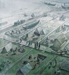 Ribes håndværkerparceller nær åen, ca.725 e.Kr. – Handwerkerparzellen, Ribe um 725 n.Chr. – Craftsmen-places, Ribe AD 725
