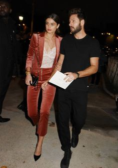 Taylor Hill and a guest attend The Vogue Party Outside Arrivals as part of the Paris Fashion Week Womenswear Spring/Summer 2018 on October 1 2017 in...