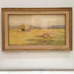 tableaux signée de George COCKRANE,paysage de campagne ,récolte des blés .XX siècle .