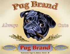vintage pug art | Pug Cigar Label Dog Art Print by rubenacker on Etsy