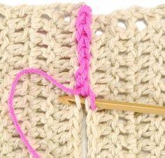 Unindo peça em crochê com correntinha