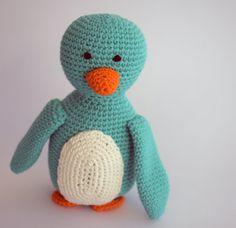 Happy turqois penguin softie amigurumi, cuddly toy Crochet Animals, Softies, Tweety, Penguins, Cuddling, Baby Shower Gifts, Craft Supplies, Dinosaur Stuffed Animal, Great Gifts