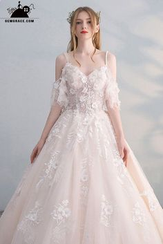 Ball Gown Wedding Dresses Peachy Ballgown Princess Wedding Dress Tulle with Stra. Ball Gown Wedding Dresses Peachy Ballgown Princess Wedding Dress Tulle with Straps Beaded Flowers at GemGrace Princess Ball Gowns, Princess Wedding Dresses, Dream Wedding Dresses, Wedding Gowns, Tulle Wedding, Mermaid Wedding, Wedding Dresses With Flowers, Wedding Outfits, Wedding Cakes