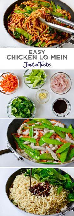 Easy Chicken Lo Mein recipe from justataste.com #recipe #chicken @justataste