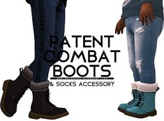 Patent Combat Boot - Onyx Sims Here's the new version of my Patent Combat Boots, now available for everyone and not just kids and females.