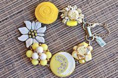 Oner of a kind gift idea! Reclaimed Vintage Earring Bracelet, Gift for Her, Bridesmaid gift set, Lemon Yellow, Cluster, Silver Rhinestone, Jennifer Jones OOAK, Flower by JenniferJonesJewelry on Etsy