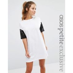 ASOS PETITE T-shirt Dress with Sequin Sleeve ($38) ❤ liked on Polyvore featuring dresses, petite, white, sleeved dresses, oversized t shirt dress, white sequin dress, petite dresses and tee shirt dress