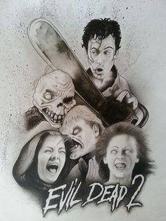 Evil Dead 2 graphite pencil and watercolor on paper Evil Dead Series, Tim Scott, Horror, Sick, Art Drawings, Watercolor, Cool Stuff, Awesome, Artist