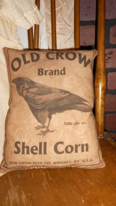 Old Crow Shell Corn Feed Sack Pillow by DownOnCrippleCreek on Etsy, $9.99