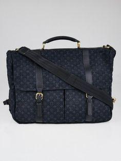 57b9c2ed7935 Louis Vuitton Blue Monogram Mini Lin Canvas Sac a Langer Diaper Bag - Yoogi s  Closet