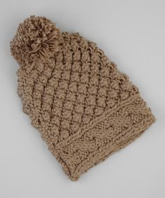 Take a look at this Jeanne Simmons Accessories Brown Waffle Knit Pom-Pom Beanie on zulily today!
