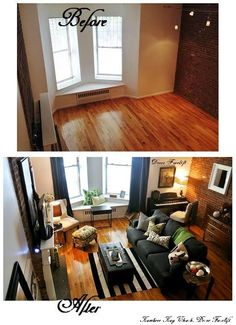 Simplicity for bachelors apt. (Pull out couch is a necessity) Apartment Layout, Apartment Design, Apartment Living, Loft Spaces, Small Spaces, Living Spaces, Living Room, Upper West Side, New York City