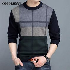 67af9ce2a COODRONY Mens Sweaters 2017 Winter New 100% Cashmere Thick Warm Sweater Men  Striped O-