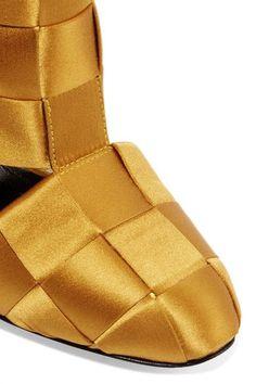 Marco De Vincenzo - Cutout Basketweave Satin Ankle Boots - Mustard - IT40.5