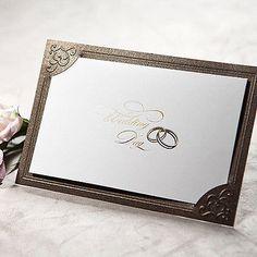 150Sets Brown Graceful Wedding Invitations 150 Cards+ 150 Envelopes /TU027