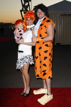 Former Bachelorette Melissa Rycroft had a cute Flinstones family theme going with her daughter Ava Grace and husband Tye Strickland at the 18th Annual Dream Halloween event to benefit the Children Affected By Aids Foundation.