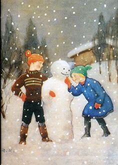 Vintage Christmas Card by Rudolf Koivu Old Time Christmas, Old Fashioned Christmas, Vintage Christmas Cards, Vintage Holiday, Christmas Snowman, Christmas Illustration, Children's Book Illustration, Frosty The Snowmen, Fairytale Art