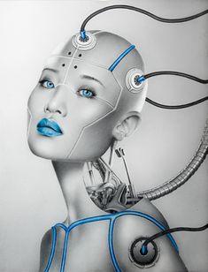 Cyborg Girl by Mademoiselle Kati. Cyborg Girl, Female Cyborg, Blade Runner, Futuristic Robot, Robot Girl, Arte Cyberpunk, Alien Art, Harrison Ford, Cybergoth