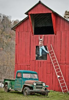 Good prank...I'd do this on our barn, with a dummy, but everyone passing by would be calling 911 :)