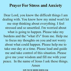 Prayer for Stress and Anxiety #prayer #stress #anxiety