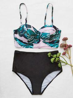 Push Up Tropical Print Bikini Set - BLACK L