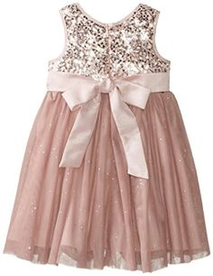 Pippa & Julie Little Girls' Sequin Bodice V Neck Dress, Mauve, 4T - Click image twice for more info - See a larger selection girls pink dress at http://girlsdressgallery.com/product-category/girls-pink-dresses/- girls, little girls, kids, kids fashion, girls fashion, girls dress, casual dress, everyday dresses, gift ideas