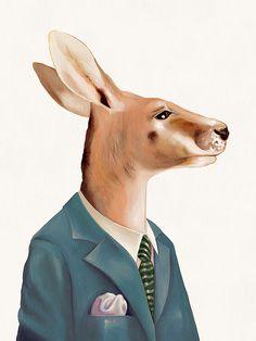 Kangaroo Art Print, Australian Animal, Kangaroo, Animal Illustration, Kids Room Prints, Australiana, Poster