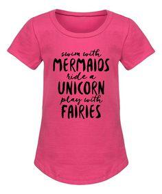 Raspberry 'Mermaids Unicorns Fairies' Tee - Girls