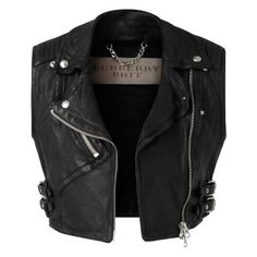 Burberry Cropped Leather Biker Waistcoat ❤ liked on Polyvore featuring outerwear, vests, waistcoat vest, genuine leather vest, leather waistcoat, leather vest and burberry