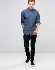 Image 4 of Jack & Jones Premium Chambray Shirt Chambray Outfit, Chambray Shirts, Denim Button Up, Button Up Shirts, Easter 2018, Jack Jones, Smart Casual, Cl, Latest Trends