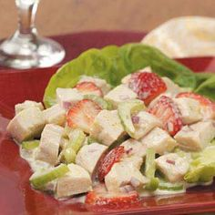 Strawberry Chicken Salad Recipe from Taste of Home -- shared by Edie DeSpain of Logan, Utah