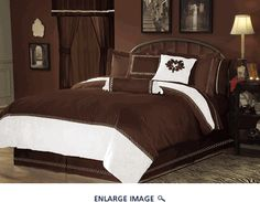 7Pcs King Hotel Collection Embroidery Bed in a Bag Comforter Set Chocolate