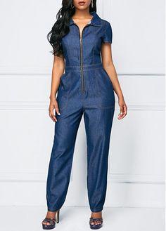 Zipper Up Denim Blue Pocket Jumpsuit Blue Jumpsuits, Jumpsuits For Women, Fashion Jumpsuits, Denim Fashion, Fashion Outfits, Womens Fashion, Denim Overall, Denim Jumpsuit, African Fashion Dresses